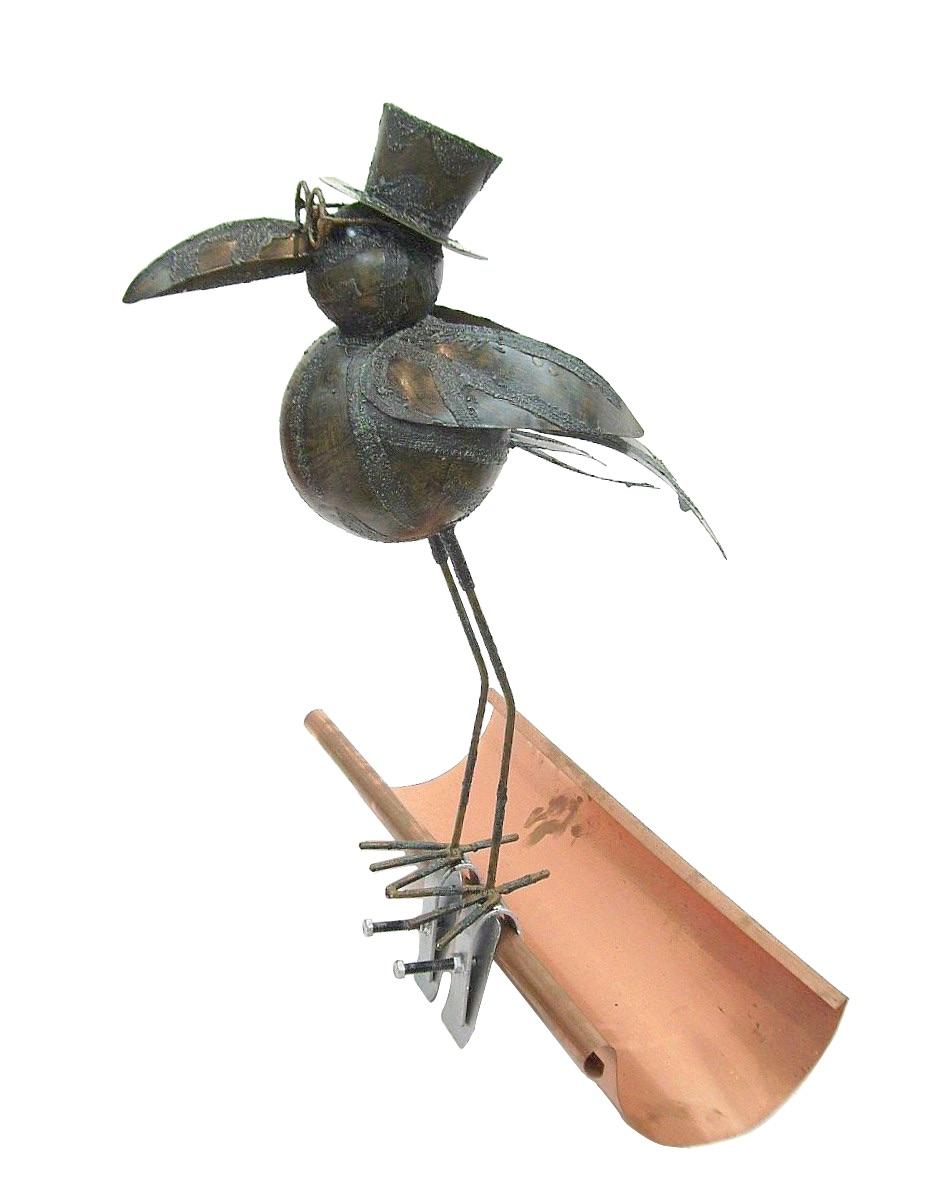 rabe aus metall dachschmuck f r die dachrinne 50 cm ebay. Black Bedroom Furniture Sets. Home Design Ideas