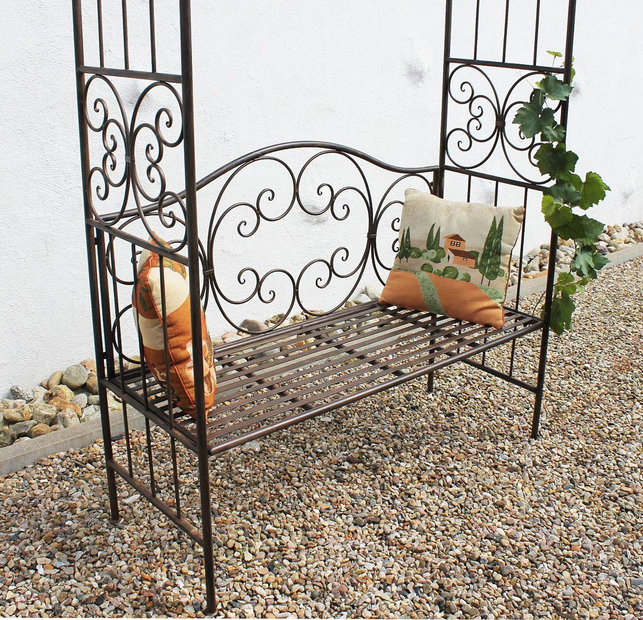 rosenbogen mit bank 120852 metall 250cm gartenbank spalier pergola kletterhilfe ebay. Black Bedroom Furniture Sets. Home Design Ideas