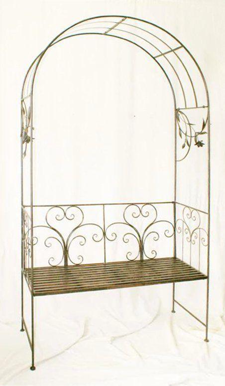 rosenbogen mit bank 130472 metall 236 cm gartenbank spalier pergola kletterhilfe ebay. Black Bedroom Furniture Sets. Home Design Ideas