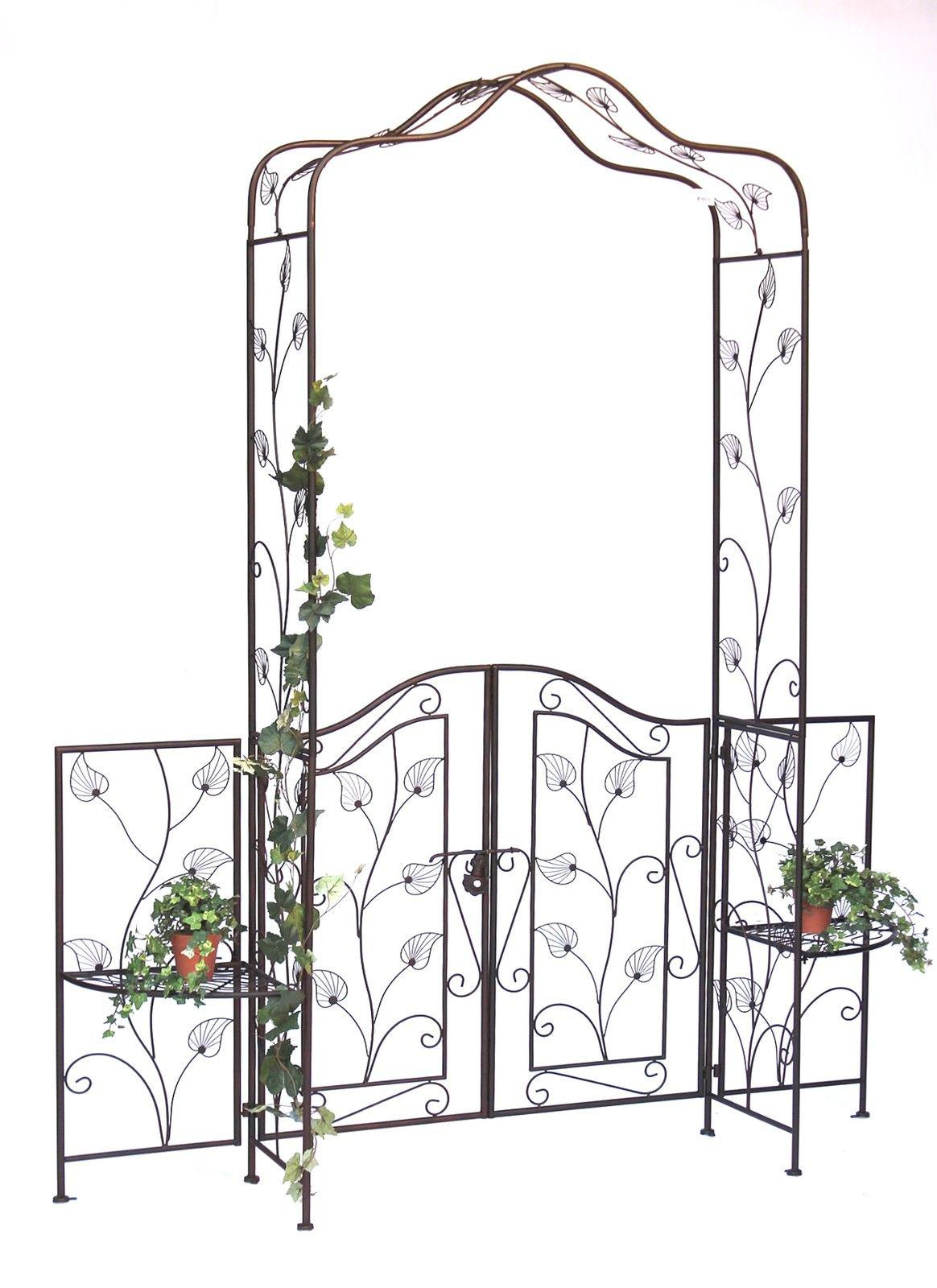 Rosenbogen mit Tor Pforte aus Metall Gartentor 236x186 cm