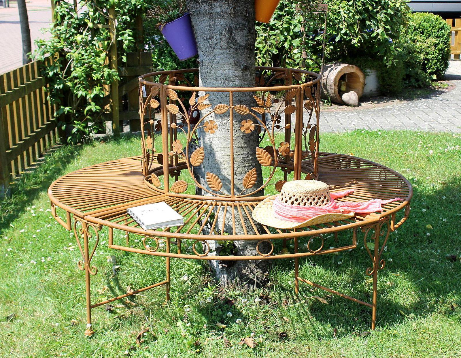rundbank metall antik bank 100112 baumbank sitzbank gartenbank d 140 cm rostb ebay. Black Bedroom Furniture Sets. Home Design Ideas