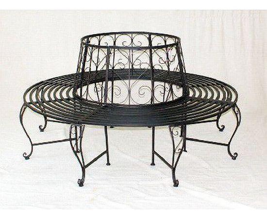 rundbank aus metall bank 120749 baumbank sitzbank gartenbank d 160 cm h 84 cm ebay. Black Bedroom Furniture Sets. Home Design Ideas