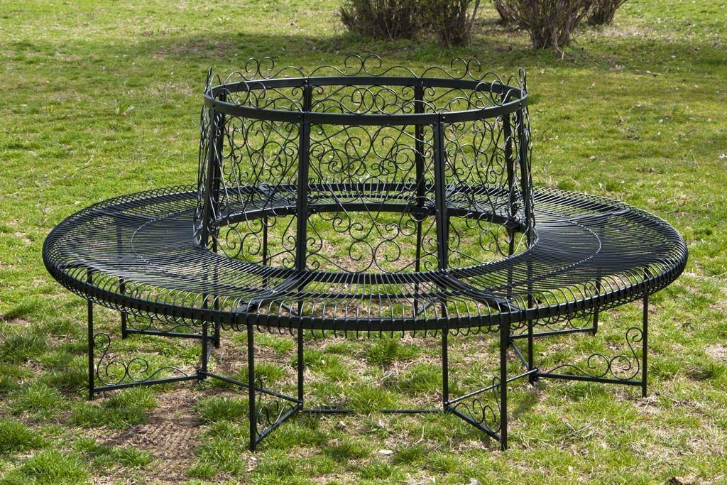 rundbank xxl d 200 cm aus metall bank baumbank sitzbank gartenbank schmiedeeisen ebay. Black Bedroom Furniture Sets. Home Design Ideas