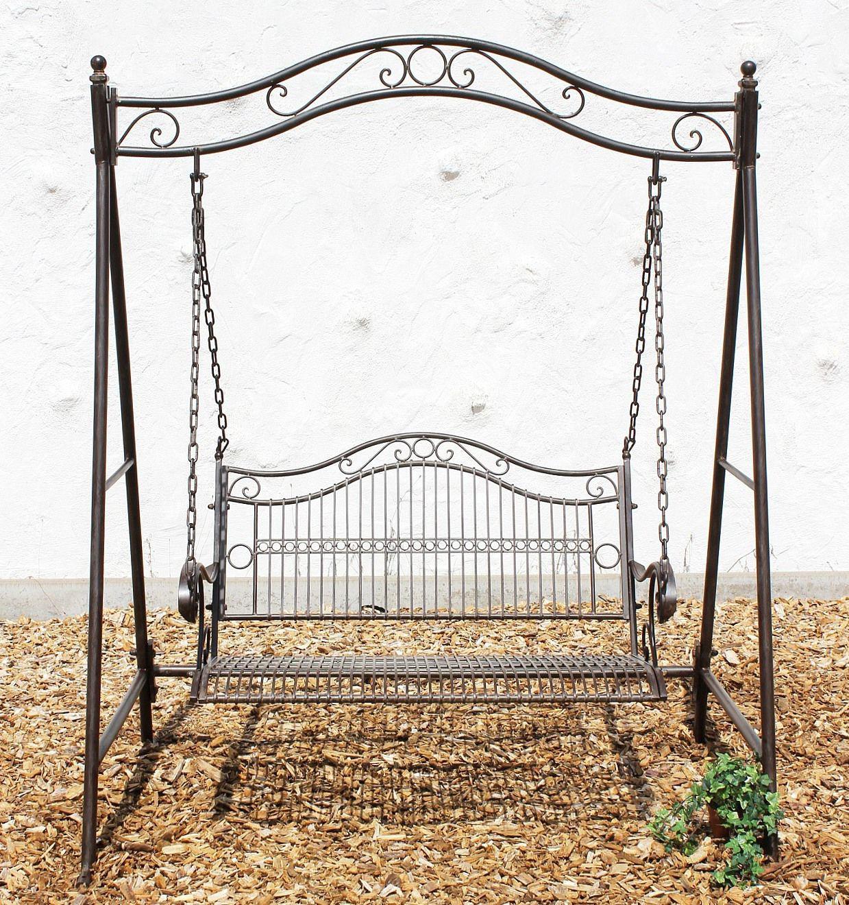 schaukel 082505 hollywoodschaukel antik metall schmiedeeisen gartenschaukel ebay. Black Bedroom Furniture Sets. Home Design Ideas