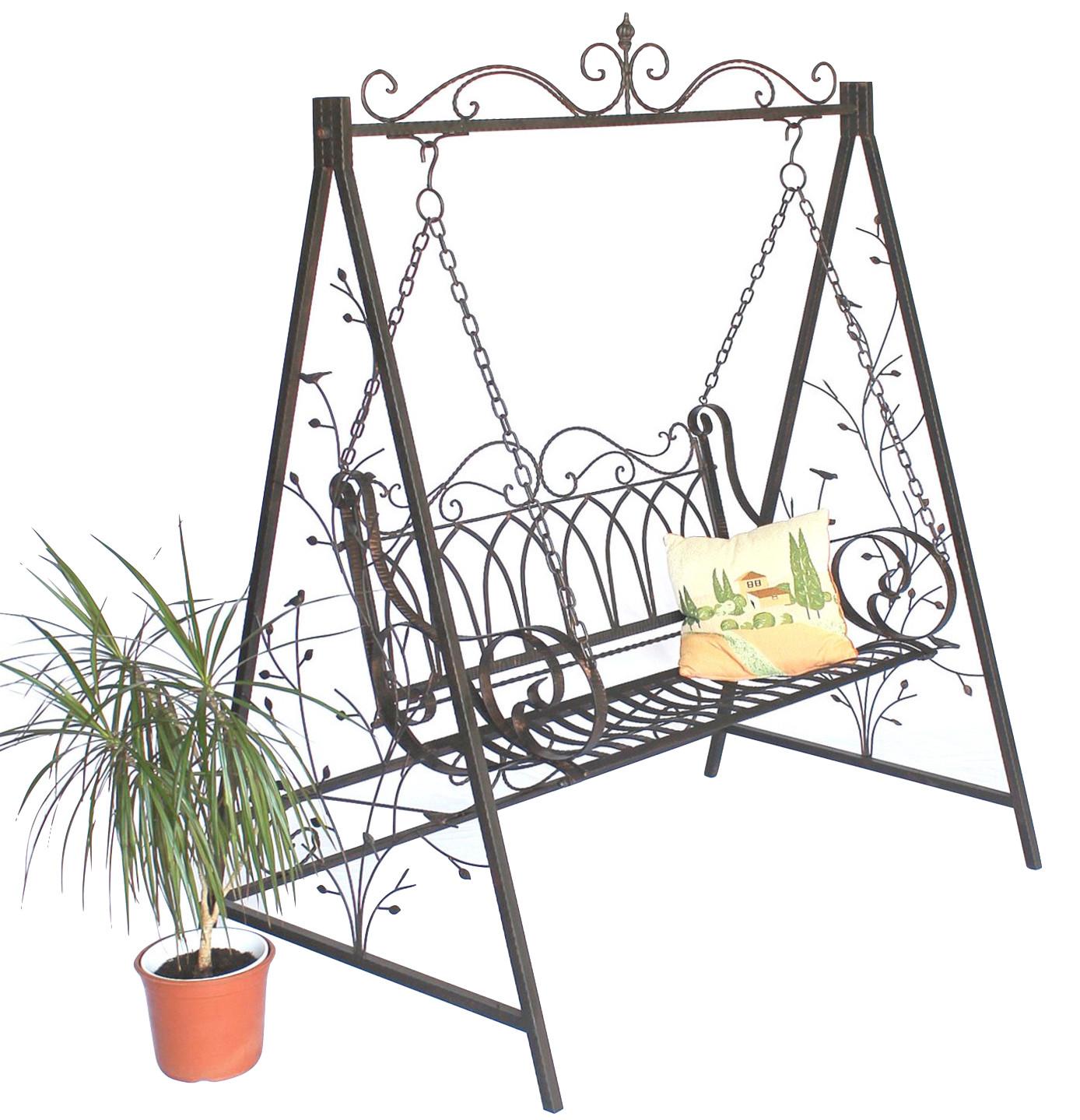 schaukel hollywoodschaukel 18688 mit ketten metall schmiedeeisen gartenschaukel ebay. Black Bedroom Furniture Sets. Home Design Ideas
