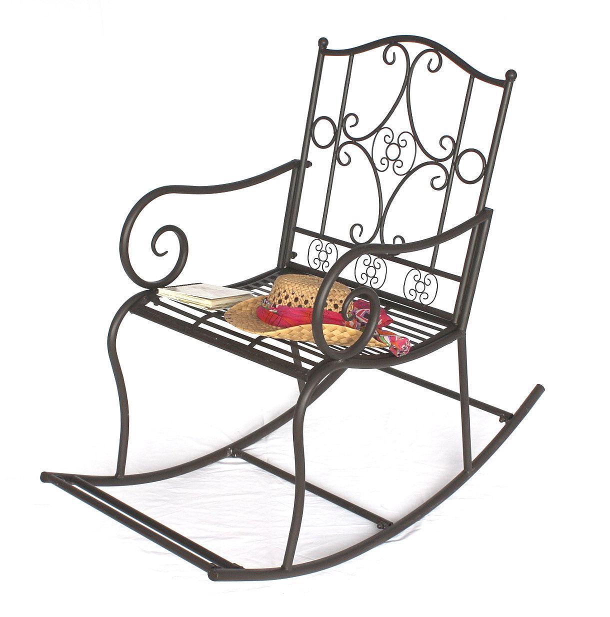 schaukelstuhl metall gartenstuhl 140490 stuhl schwingsessel schaukel braun antik ebay. Black Bedroom Furniture Sets. Home Design Ideas