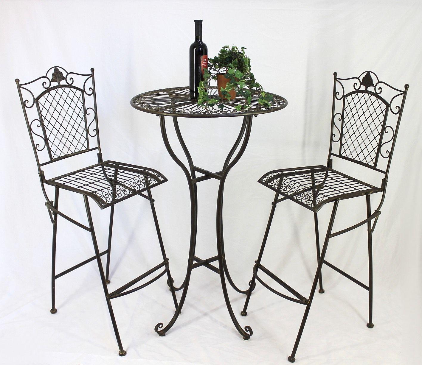 stehtisch und 2 barhocker set 20832 33 bartisch schmiedeeisen metall hocker rund ebay. Black Bedroom Furniture Sets. Home Design Ideas
