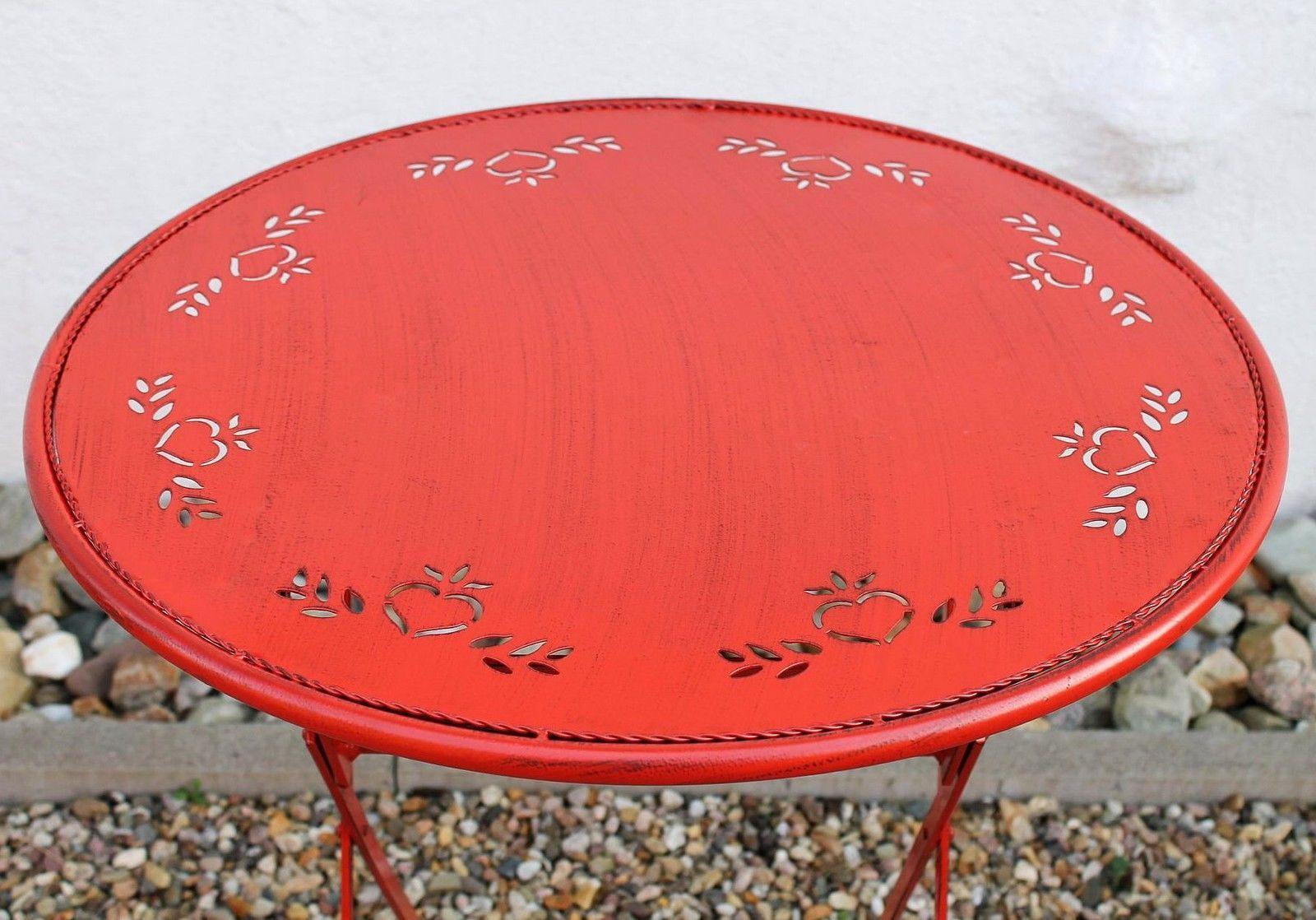 Tisch Passion D 65 Cm Aus Metall 3607 Rot Gartentisch Bistrotisch