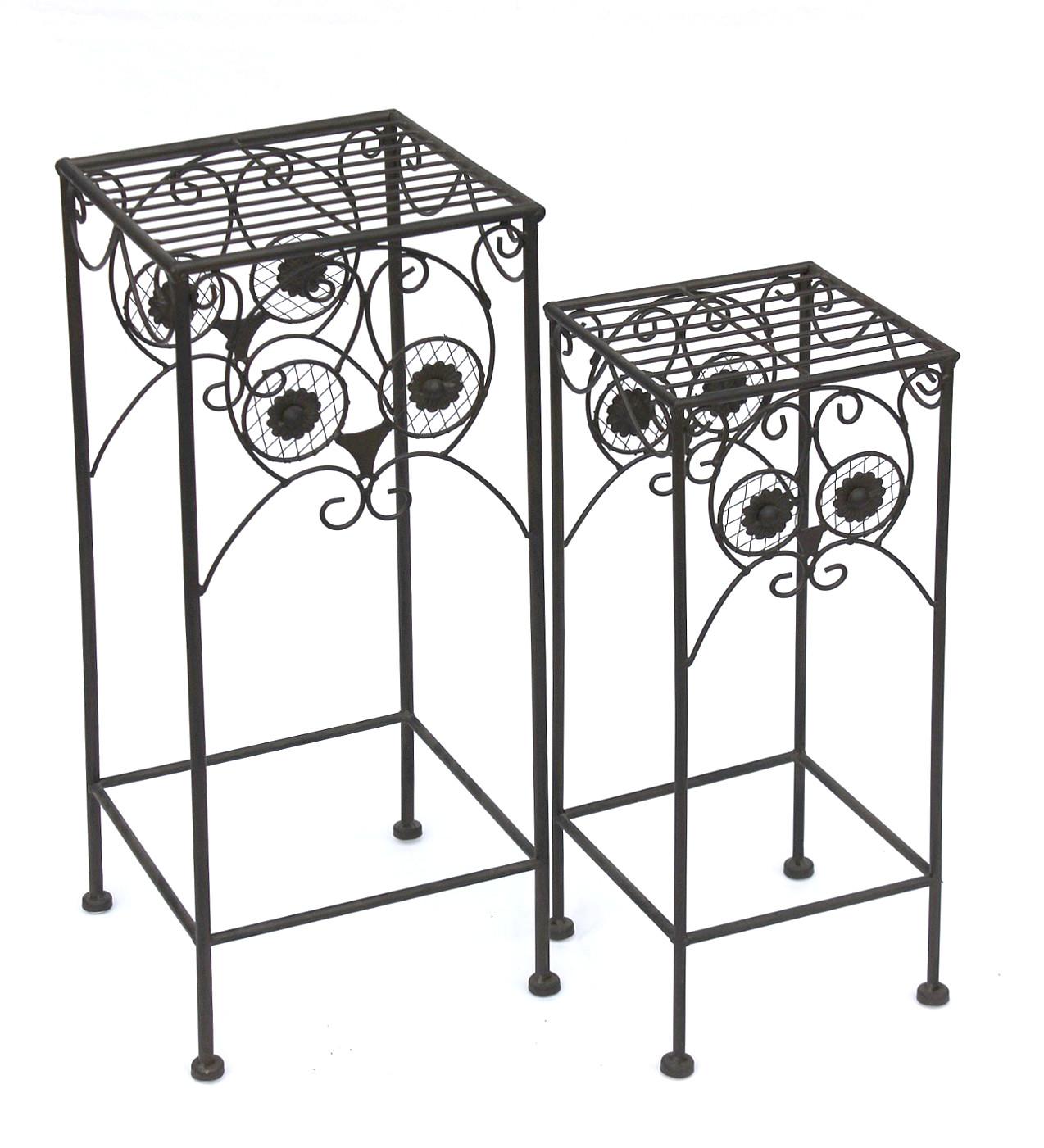 blumenhocker metall eule 140193 2er set blumenst nder pflanzenst nder hocker 4260407935145 ebay. Black Bedroom Furniture Sets. Home Design Ideas