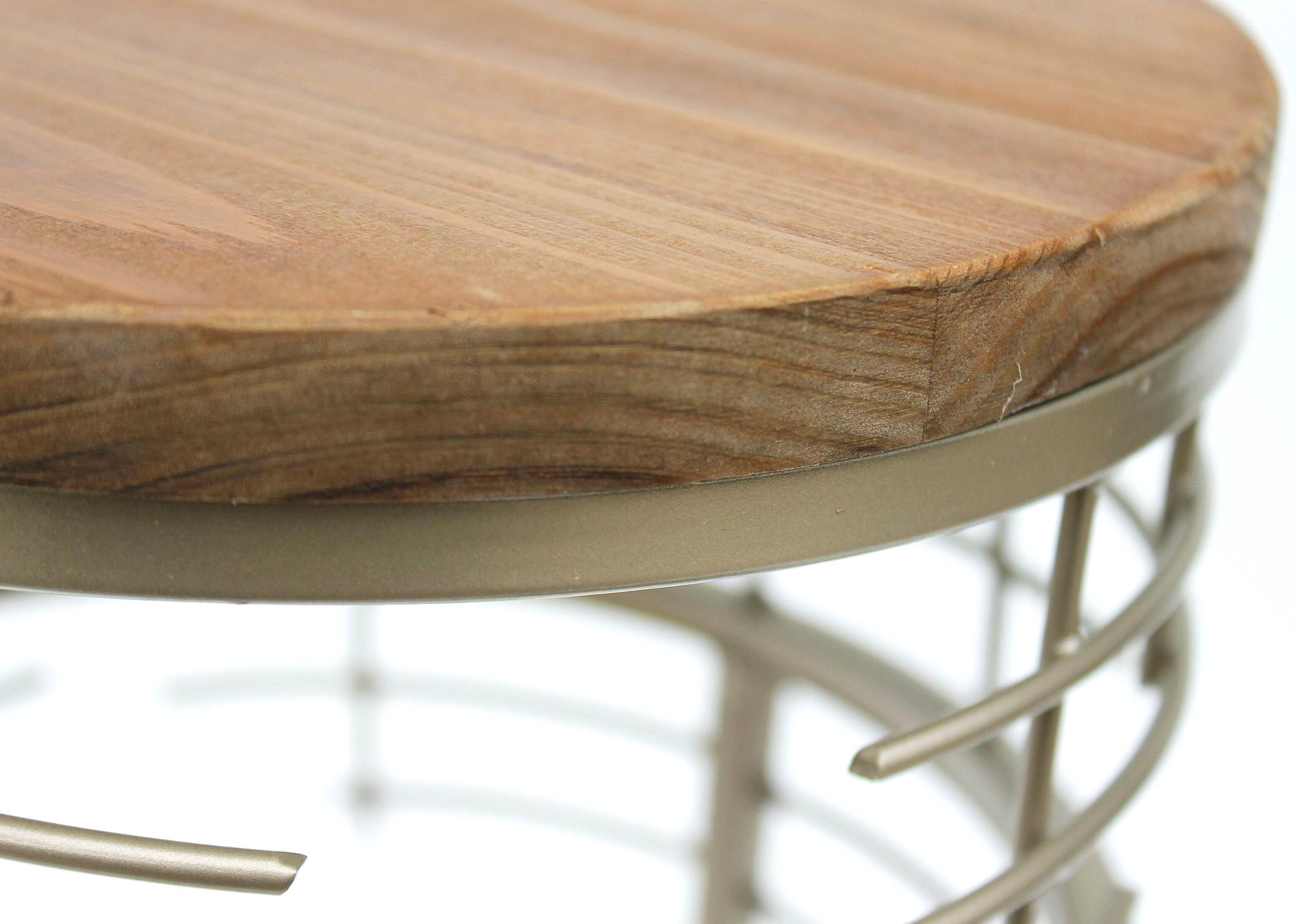 Sgabello porta fiori metallo set di tondo tavolino moderno