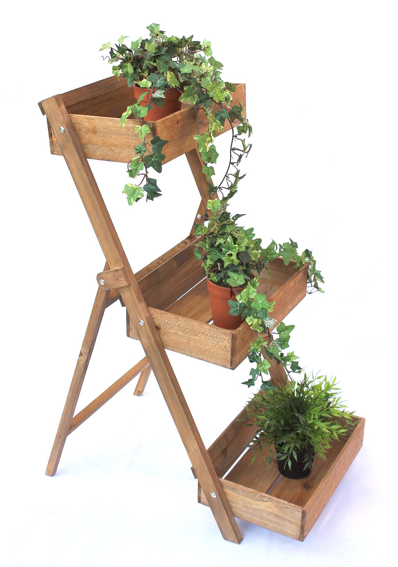 Tag re pices fiora 1 en bois 90 cm fleurs escaliers pour plantes jardini res ebay - Etagere pour epices en bois ...