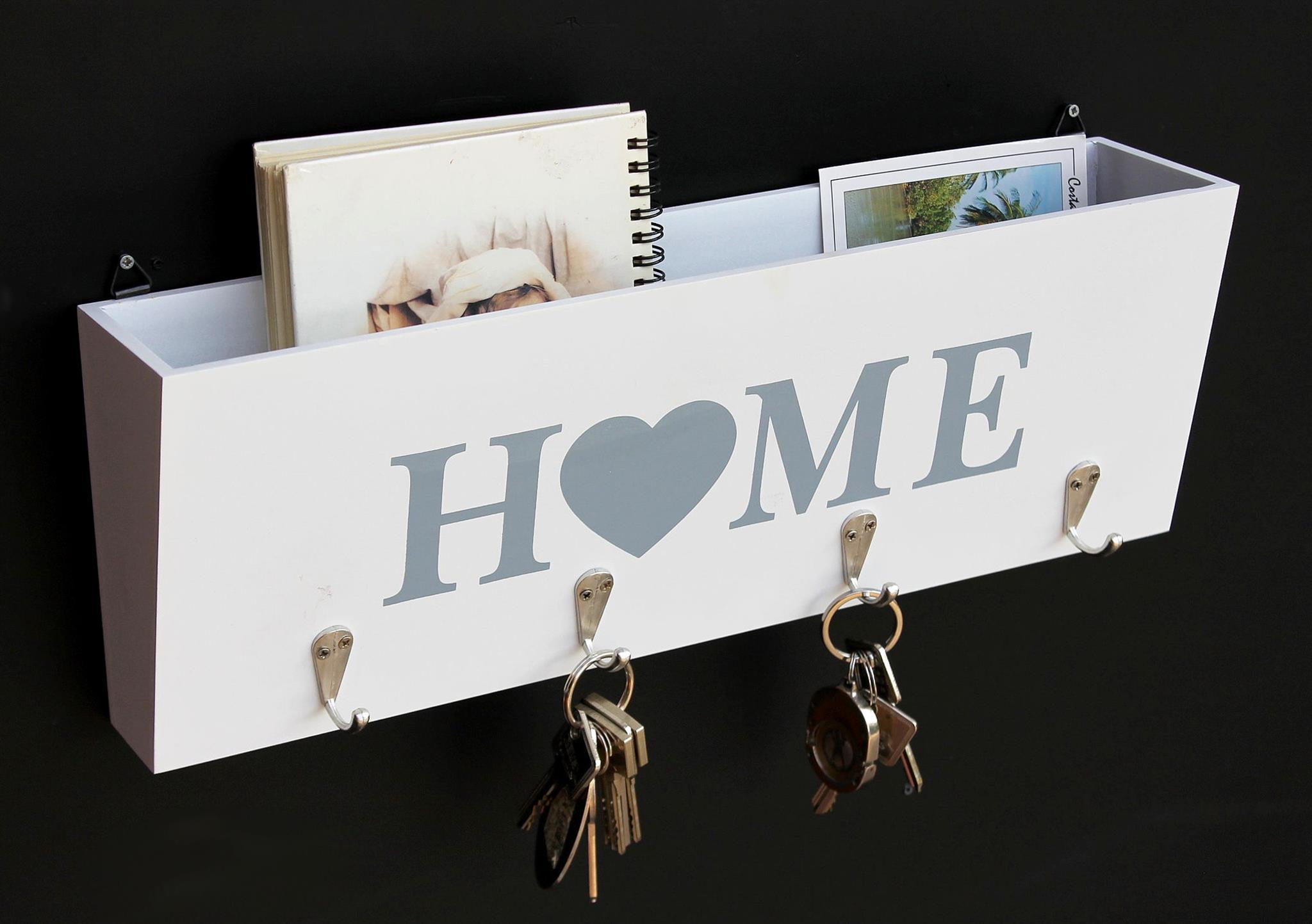 schl sselbrett ablage wei holz 144218 home 4 haken fach vintage shabby ebay. Black Bedroom Furniture Sets. Home Design Ideas