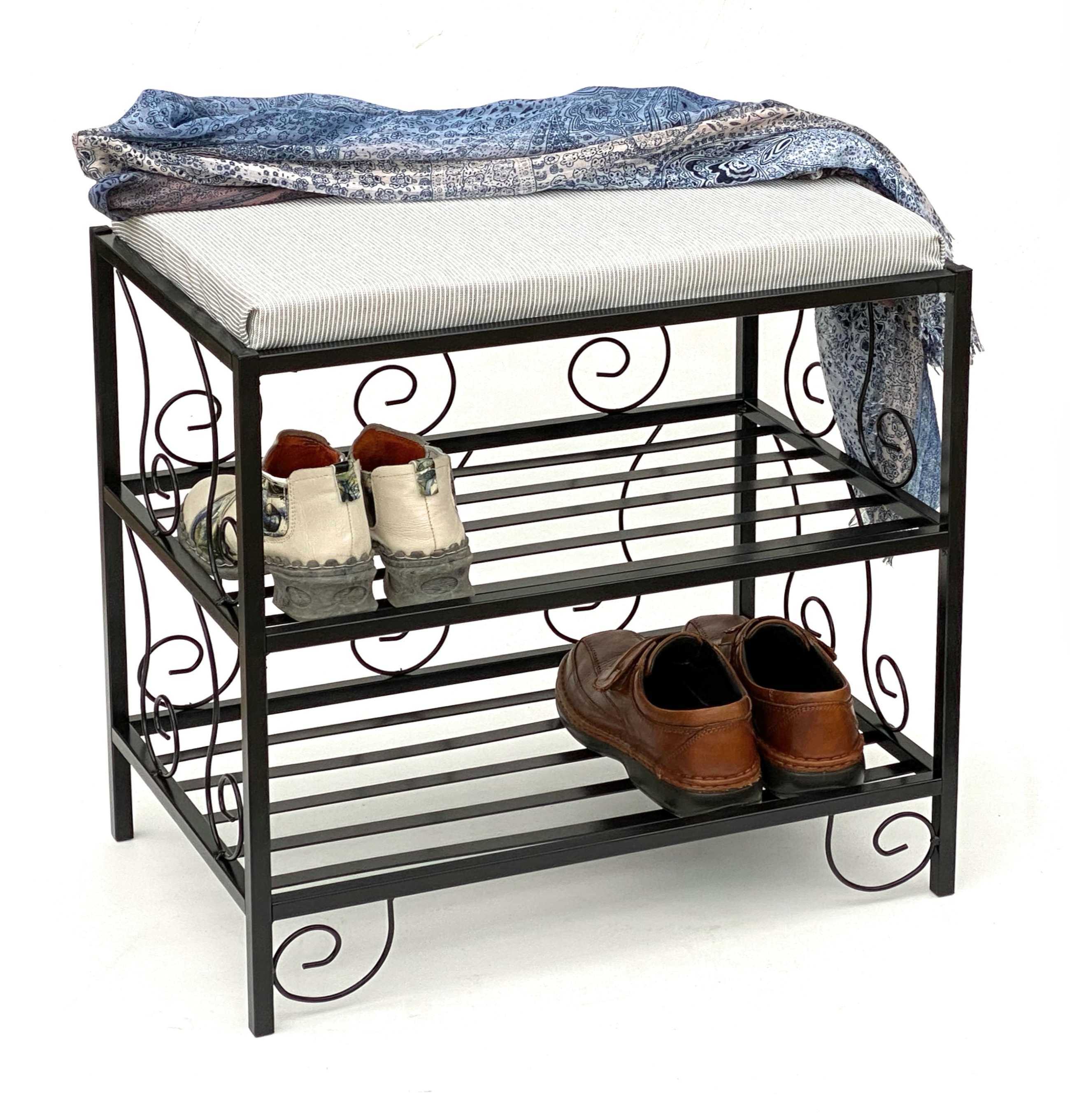 schuhregal mit sitzbank kw086 bank 60cm schuhschrank aus metall schuhablage ebay. Black Bedroom Furniture Sets. Home Design Ideas