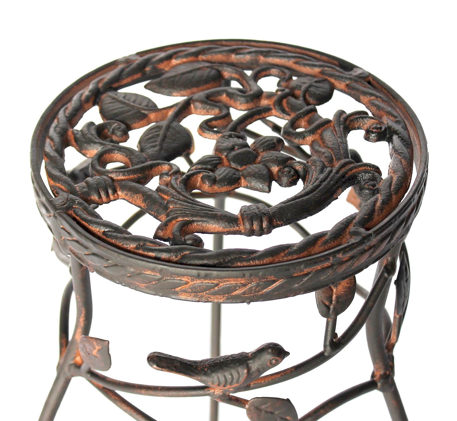 Sgabello porta fiori antico tondo metallo tavolino colonna