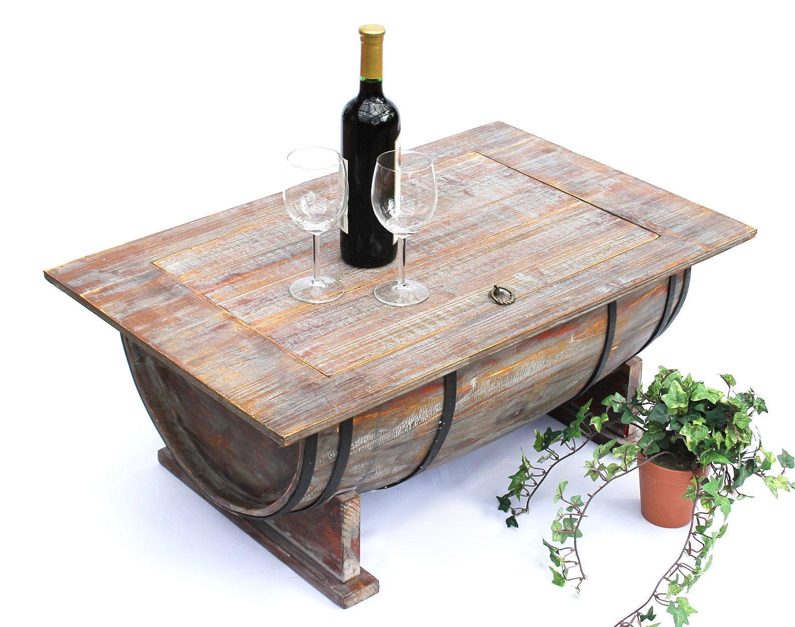 Couchtisch Weinfass 5084 Tisch aus Holz Weinregal 80 cm ...