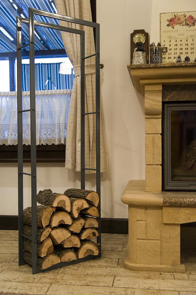 tag re en bois de chemin e xxl support 150 cm panier. Black Bedroom Furniture Sets. Home Design Ideas