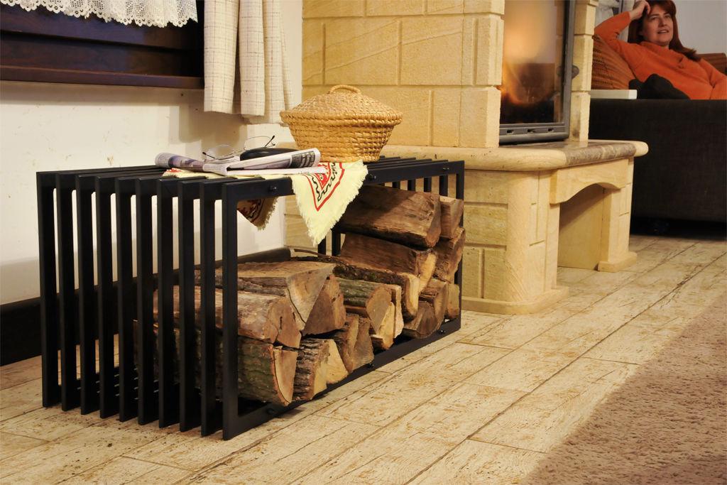 kaminholzst nder bank d stil 100 cm kaminholzregal holzkorb kaminholzhalter ebay. Black Bedroom Furniture Sets. Home Design Ideas