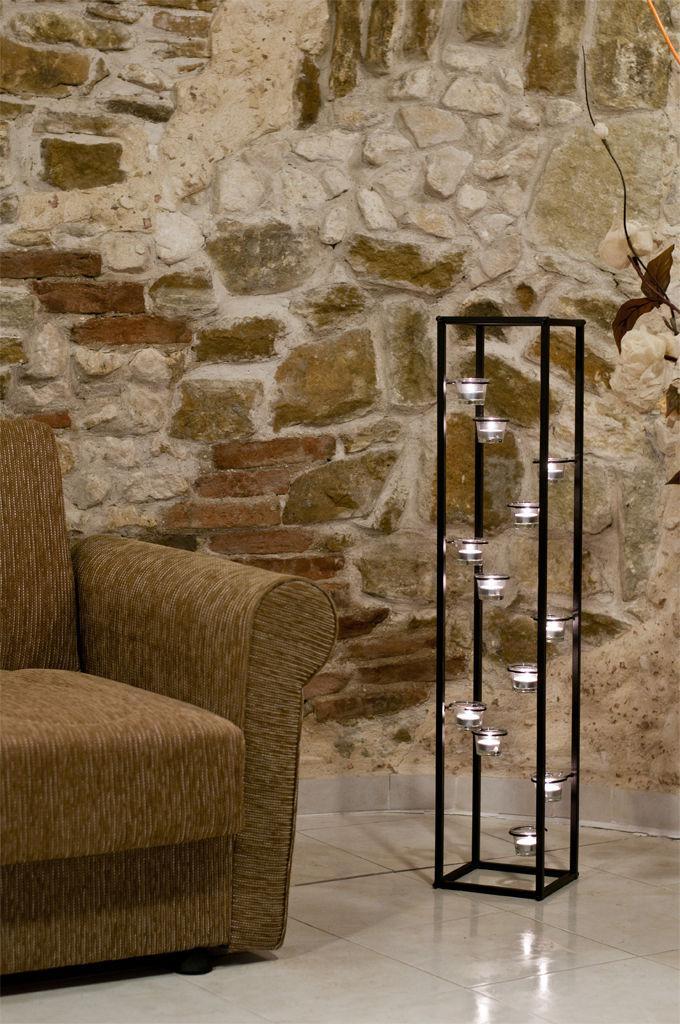 Lichtsäule Teelichthalter 100 cm Kerzenständer für 12 ...