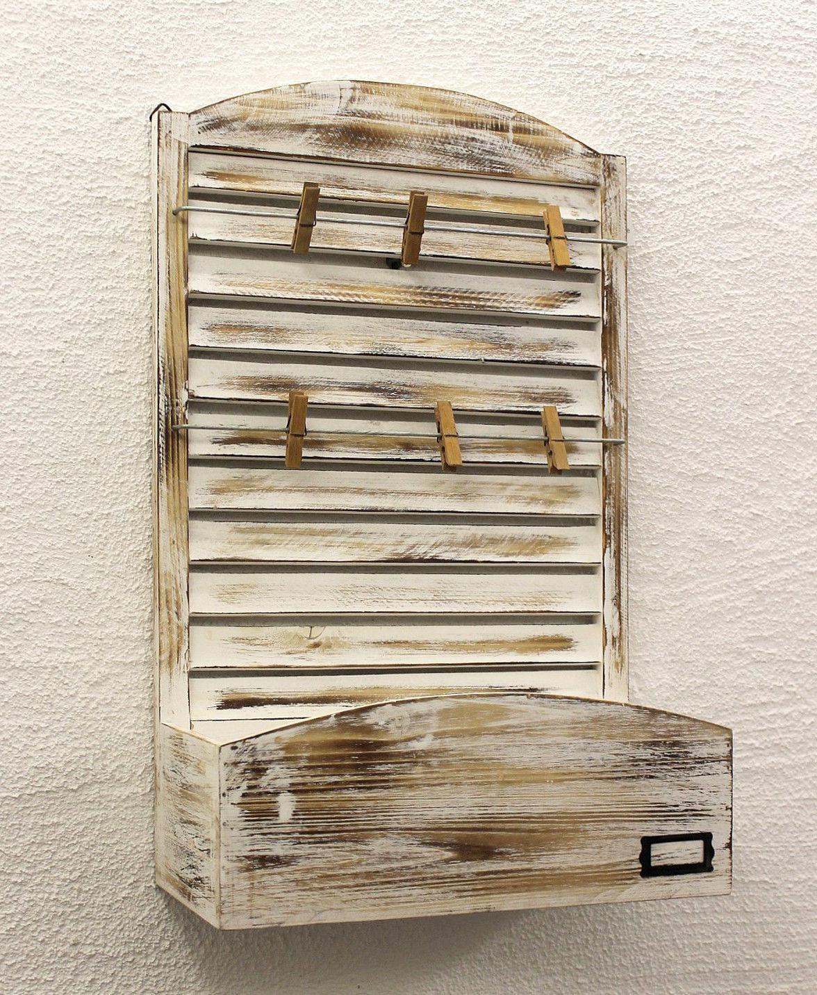 memoboard mit briefablage yx 14b415 pinnwand 65 cm wandregal memotafel shabby ebay. Black Bedroom Furniture Sets. Home Design Ideas