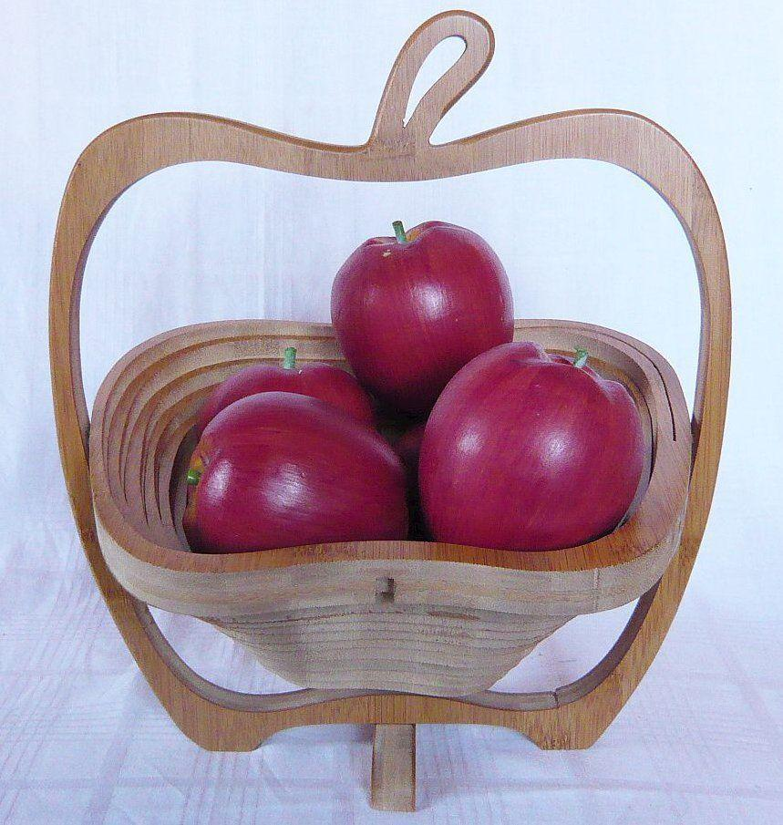 panier de fruits bol 30 cm pomme corbeille pain pliable en bois 30 ebay. Black Bedroom Furniture Sets. Home Design Ideas