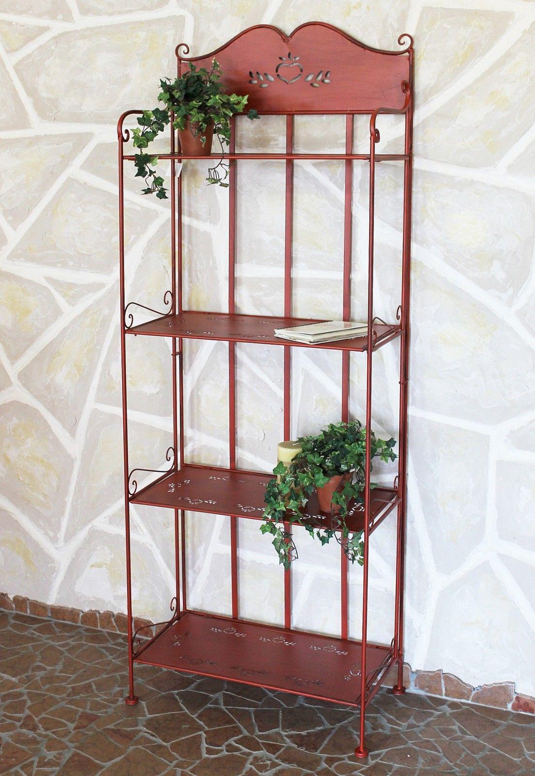 regal metall 175 cm rot 18143 b cherregal k chenregal landhaus metallregal ebay. Black Bedroom Furniture Sets. Home Design Ideas