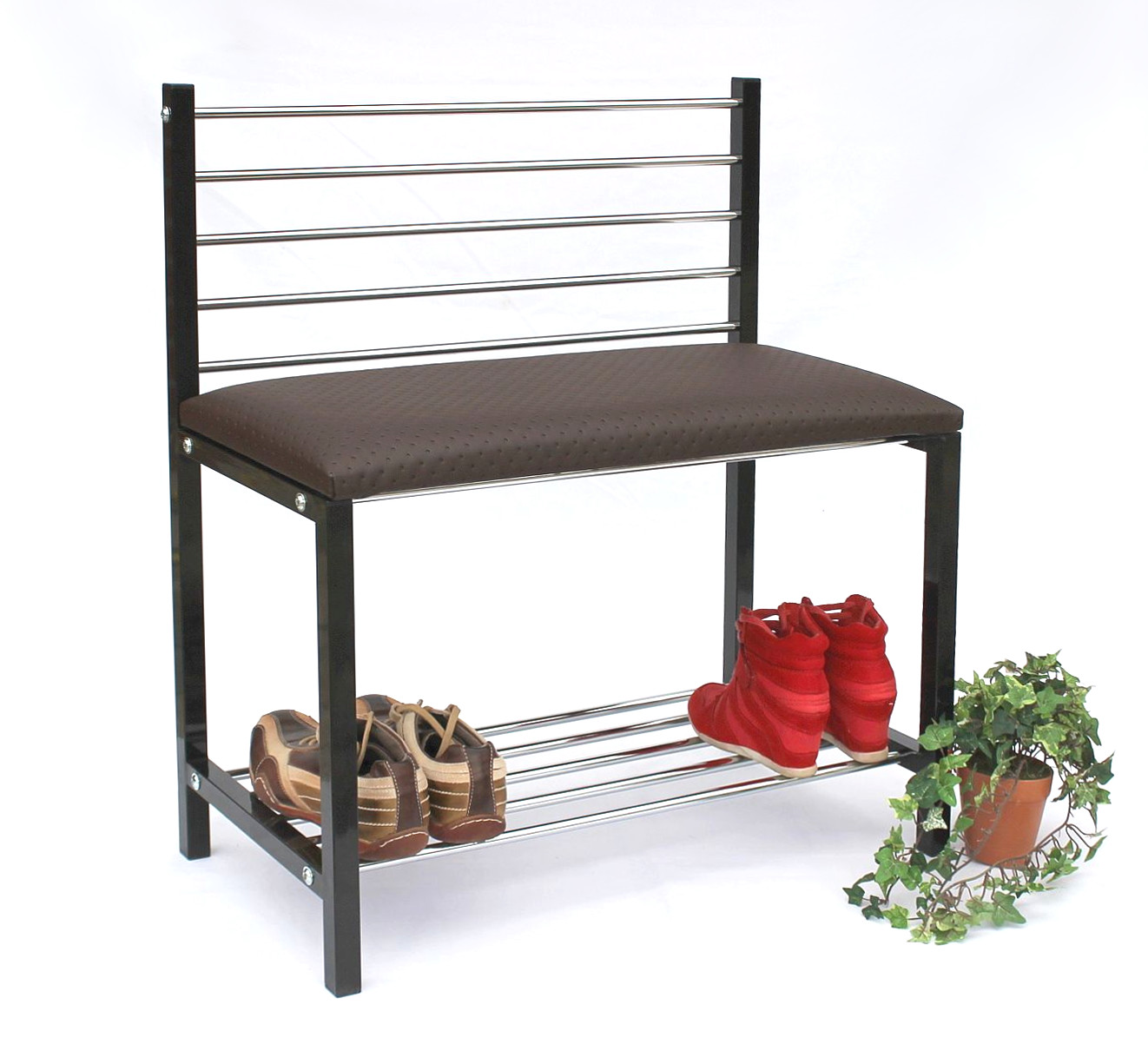 schuhregal mit sitzbank bank 70 cm schuhschrank aus metall schuhablage ebay. Black Bedroom Furniture Sets. Home Design Ideas