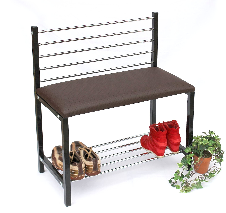 schuhregal mit sitzbank bank 70 cm schuhschrank aus metall schuhablage ebay. Black Bedroom Furniture Sets. Home Design Ideas