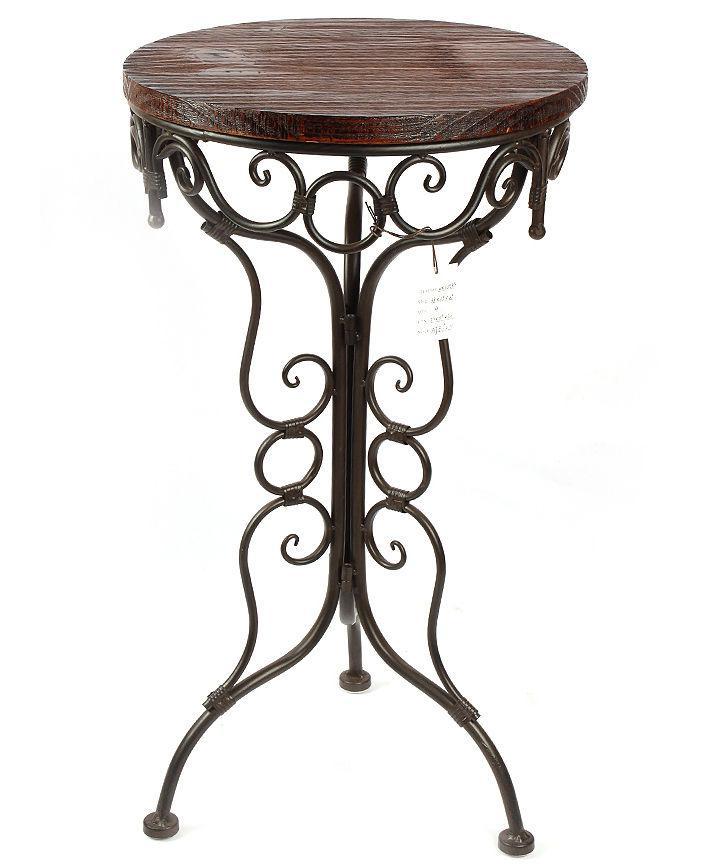 tisch beistelltisch 68 cm aus metall mit holzplatte hx12588 blumenst nder ebay. Black Bedroom Furniture Sets. Home Design Ideas