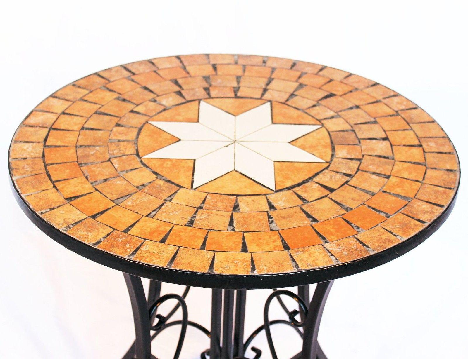 Table mosaïque 12001 de jardin 60cm métal d\'appoint en ronde | eBay