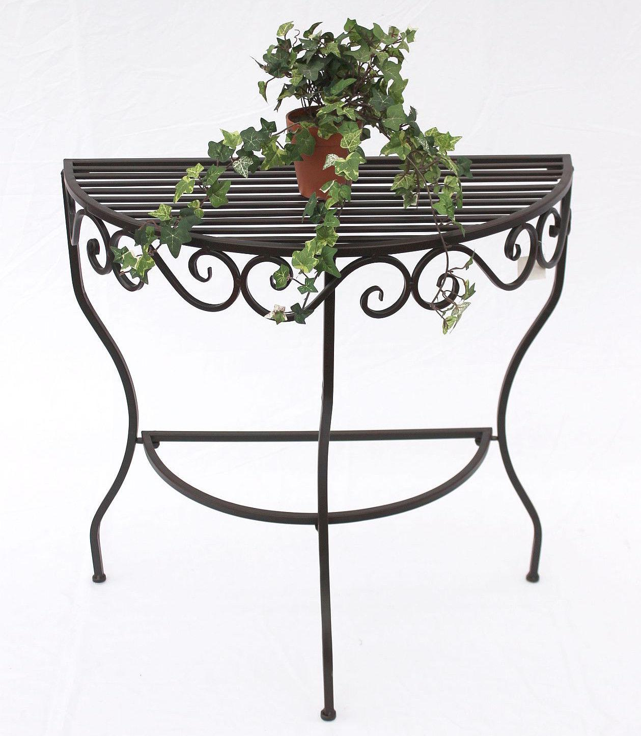 tisch wandtisch cadice 19042 beistelltisch aus metall 70 cm halbrund blumentisch ebay. Black Bedroom Furniture Sets. Home Design Ideas
