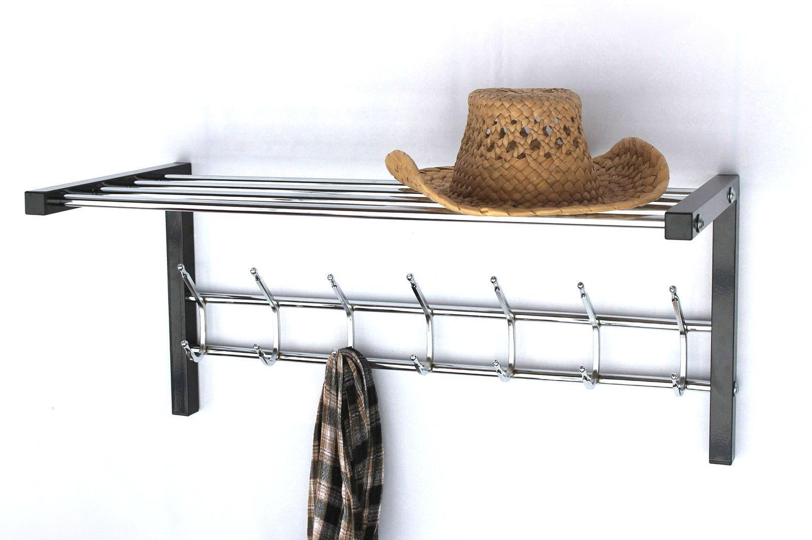 wandgarderobe mit hutablage metall. Black Bedroom Furniture Sets. Home Design Ideas
