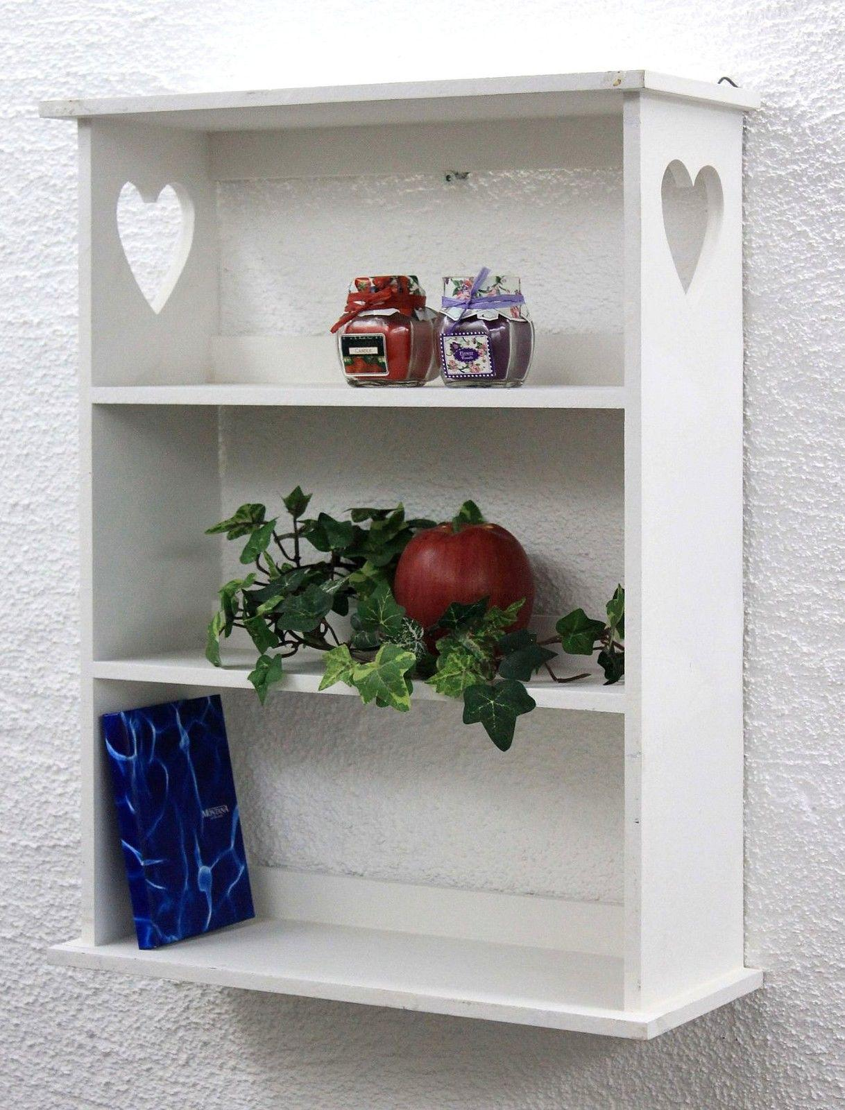 wandregal mit herz 12013 regal 50 cm vintage shabby landhaus k chenregal weiss ebay. Black Bedroom Furniture Sets. Home Design Ideas