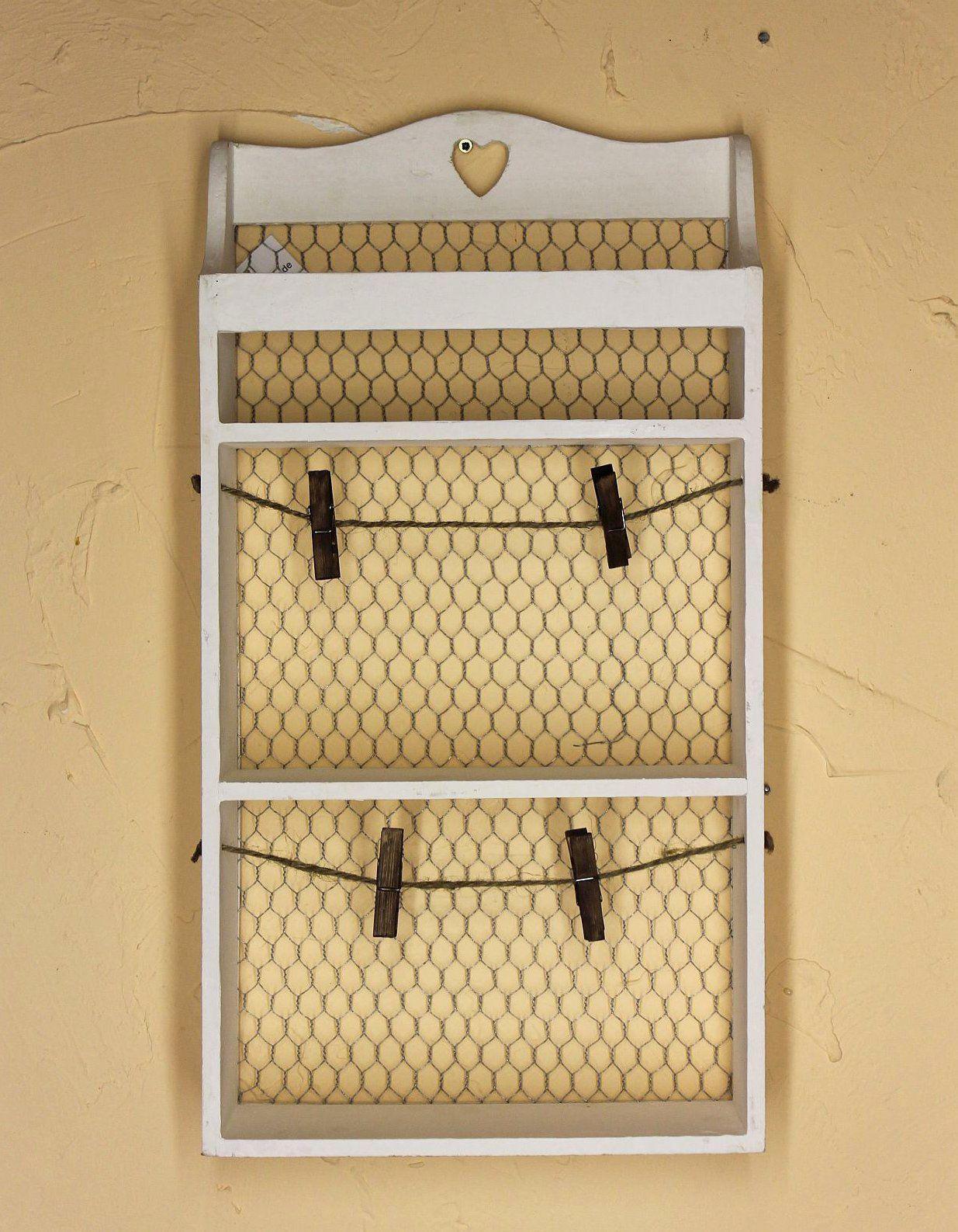 wandregal mit herz 12043 regal 57 cm vintage shabby landhaus k chenregal wei 4019110120436 ebay. Black Bedroom Furniture Sets. Home Design Ideas