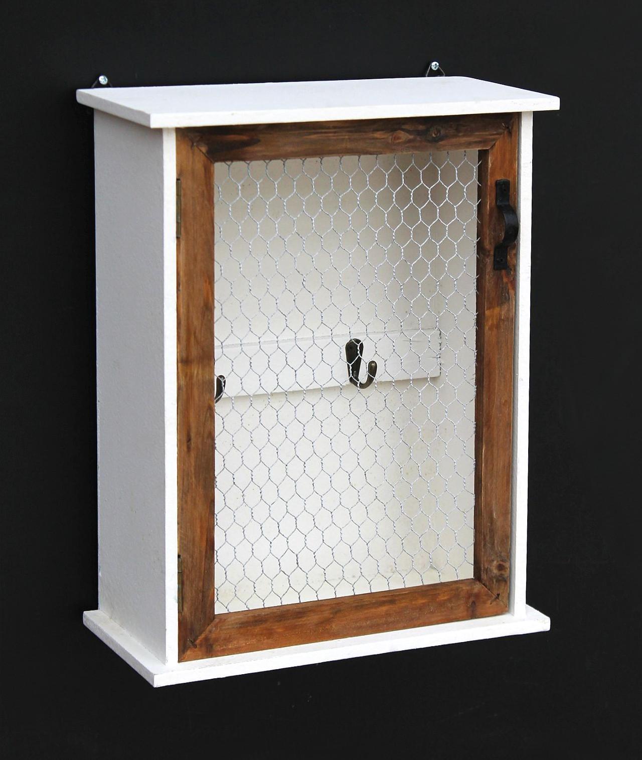 21 x 28 x 7 cm, con 6 ganchos color natural y blanco Armario para llaves con forma de b/úho