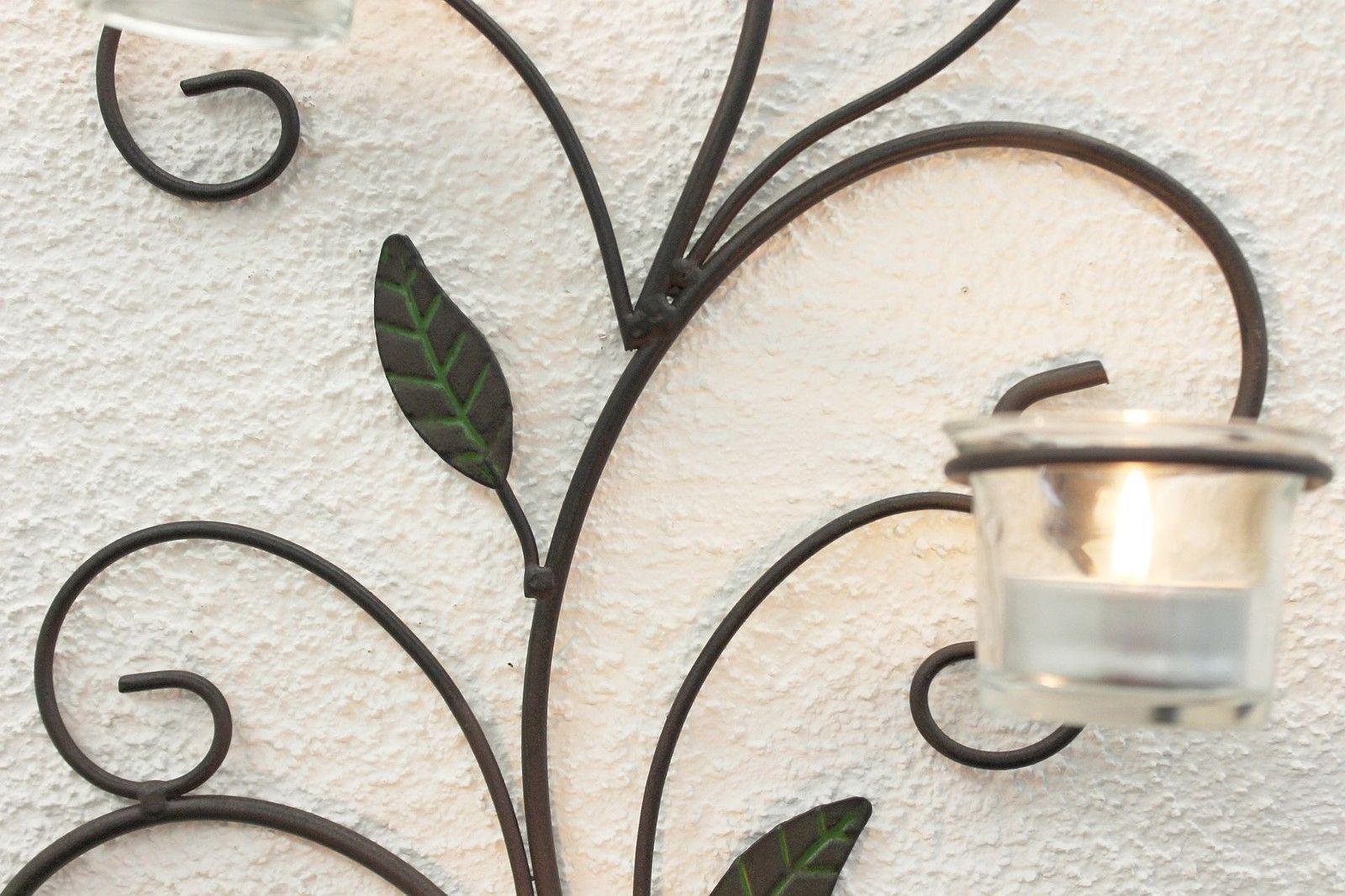wandteelichthalter 131004 teelichthalter aus metall 45 cm wandleuchter kerze ebay. Black Bedroom Furniture Sets. Home Design Ideas