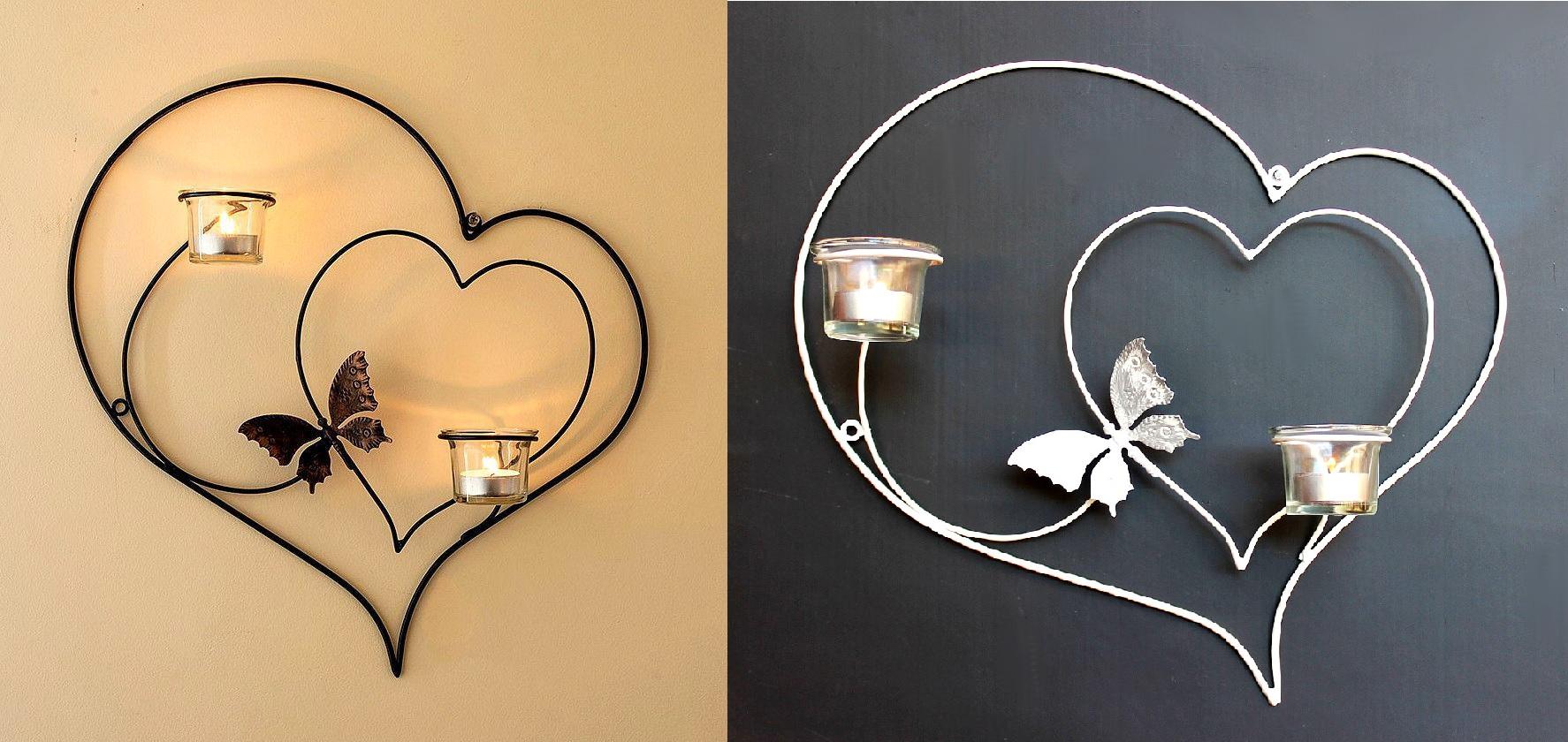 Soporte de pared para velas t coraz n 39cm portavelas metal candelabro ebay - Soporte para velas ...