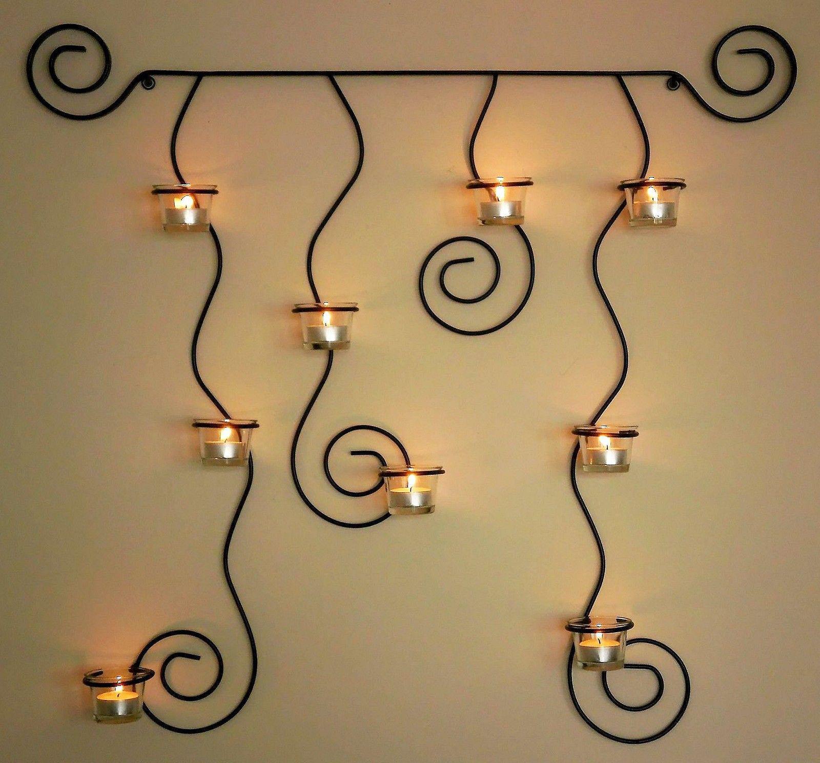 Soporte de pared para velas t lysa negro candelabro metal - Soporte para velas ...