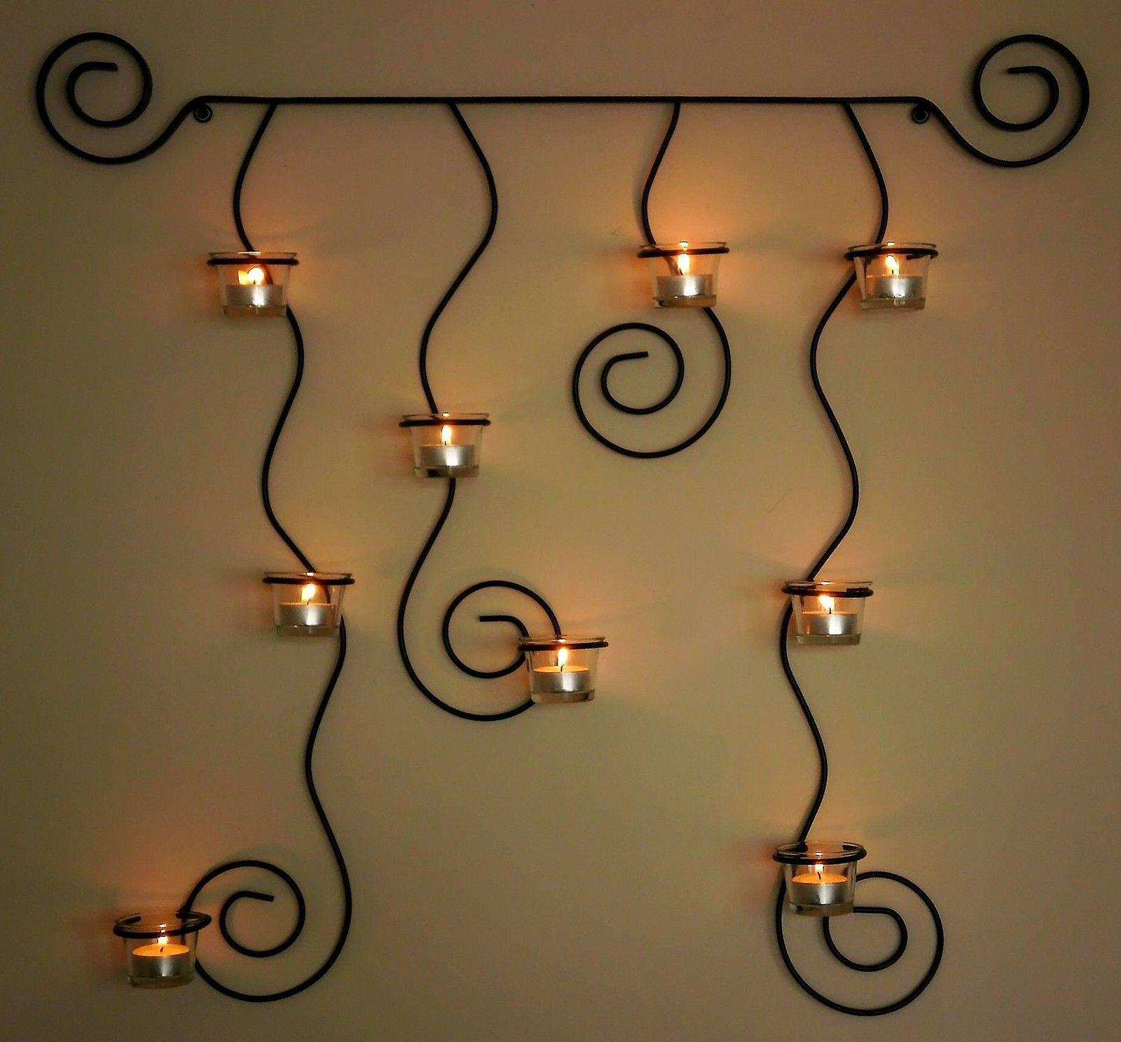 wandteelichthalter lysa schwarz wandkerzenhalter aus metall 74cm teelichthalter ebay. Black Bedroom Furniture Sets. Home Design Ideas