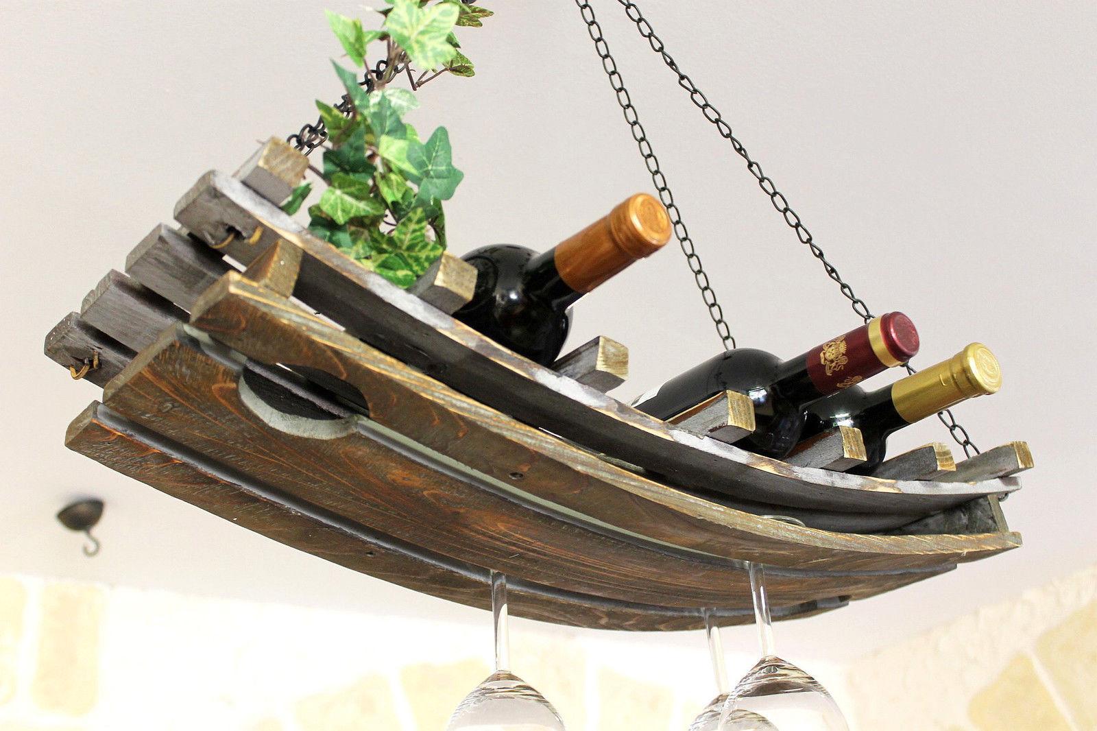 Weinregal Deckenregal Holz 65cm Hangeregal Flaschenhalter Flaschenregal Decke Ebay