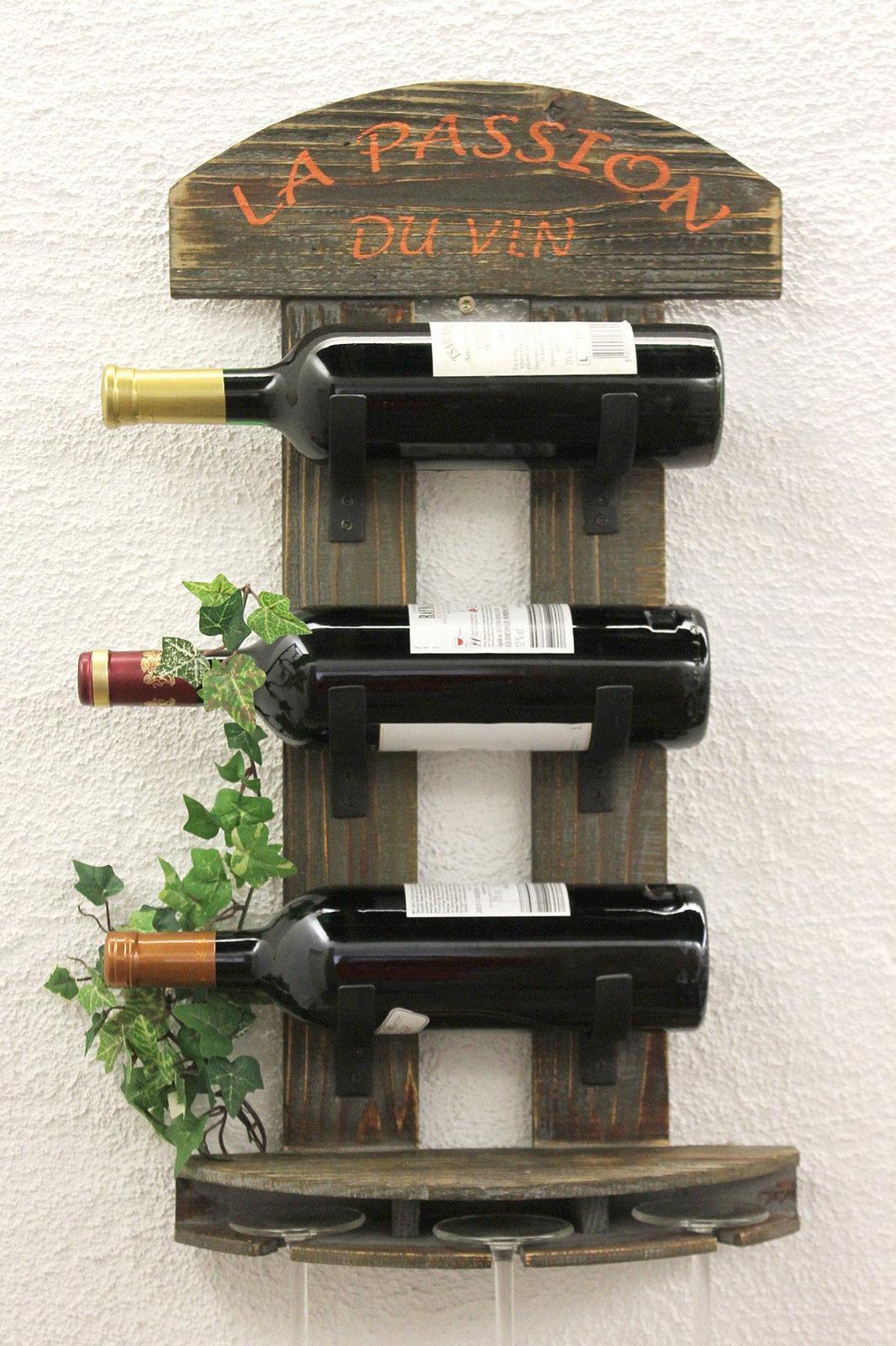 Botellero para vino estante de pared 5091 madera 60 cm bar - Botellero de madera para vino ...