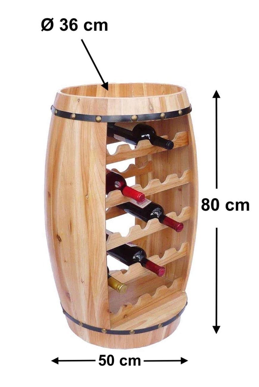 Weinregal Fass Weinfass Holz 81 cm 0370 Flaschenständer Weinschrank ...